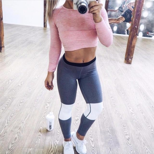 2016 new fashion high quality women casual fitness gray white patchwork striped elastic slim leggings legins pants