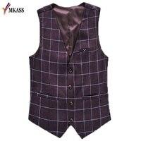 MKASS Marque Brun Plaid Mens Gilet Vintage Tweed Formelle Robe Gilet Costume Pour Le Mariage Slim Fit Manches Vestes Gilet