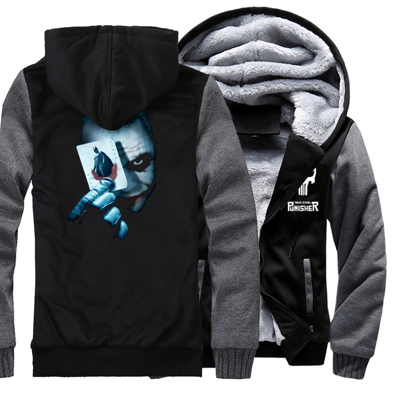 Joker Heath Ledger Print Hoodeis Men Vintage Movie Batman 2 The Dark Knight Rises 2017 Winter Thick Sweatshirts Hoody Harajuku