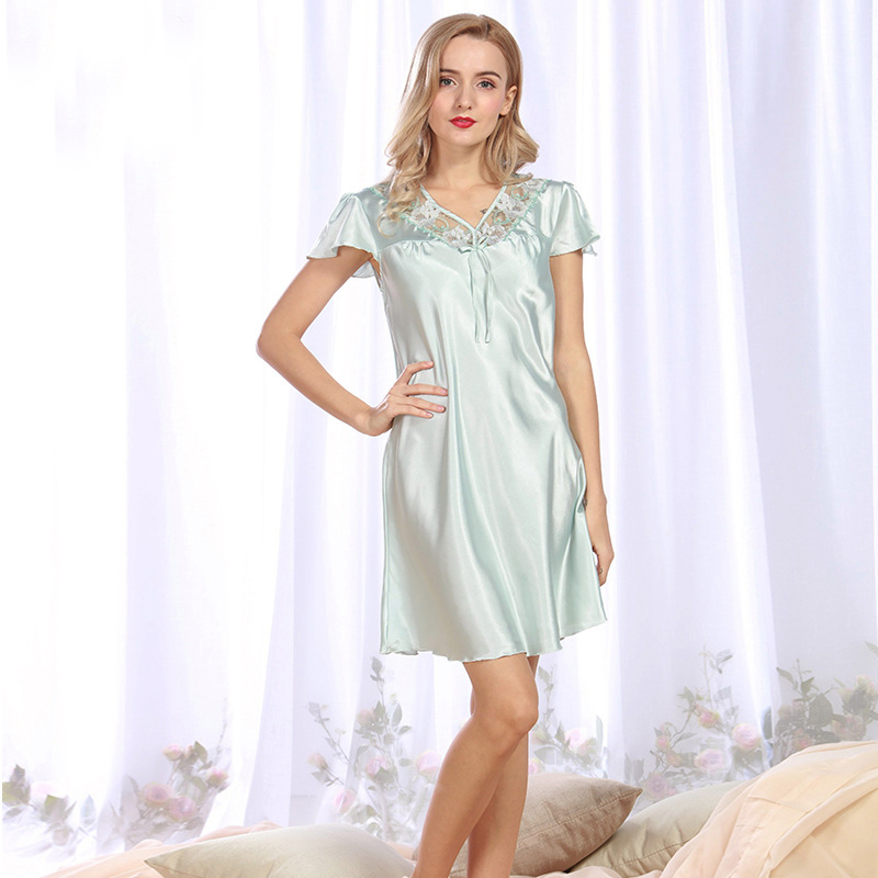 NG091 Brand Lingerie Summer V Neck Night Gown Female Satin Silk Sleepwear Pyjama Sexy Lace Nightwear Women Nightgown Sleepshirts