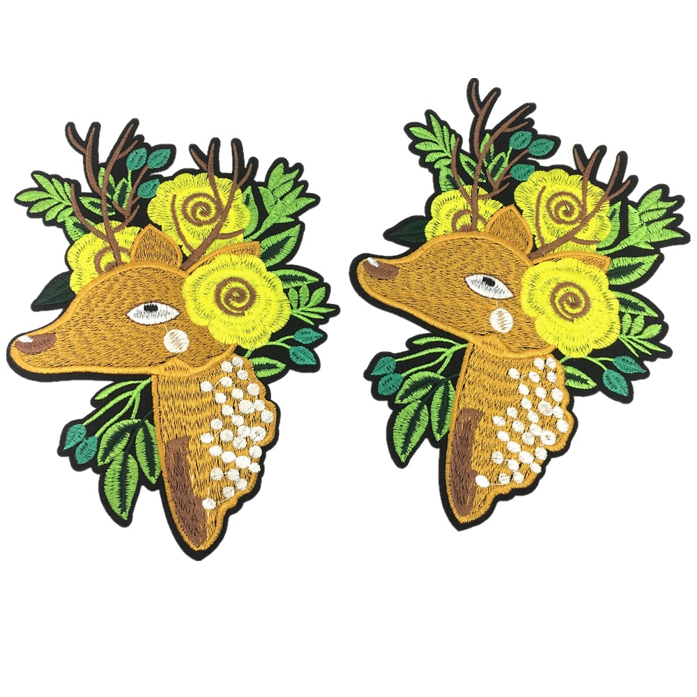 2pc Iron On Deer Embroidery Patch Embroidered Applique Animal Patches For Clothing Appliques Parches Bordados 21x15cm AC1241