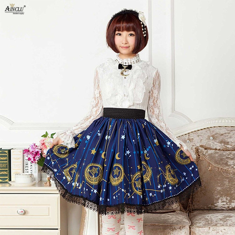 Japanese Style Pleated Blue Moon Star Womens Polyester Sweet Lolita Lady Lace High-waist Vintage Short Skirts Cosplay Party