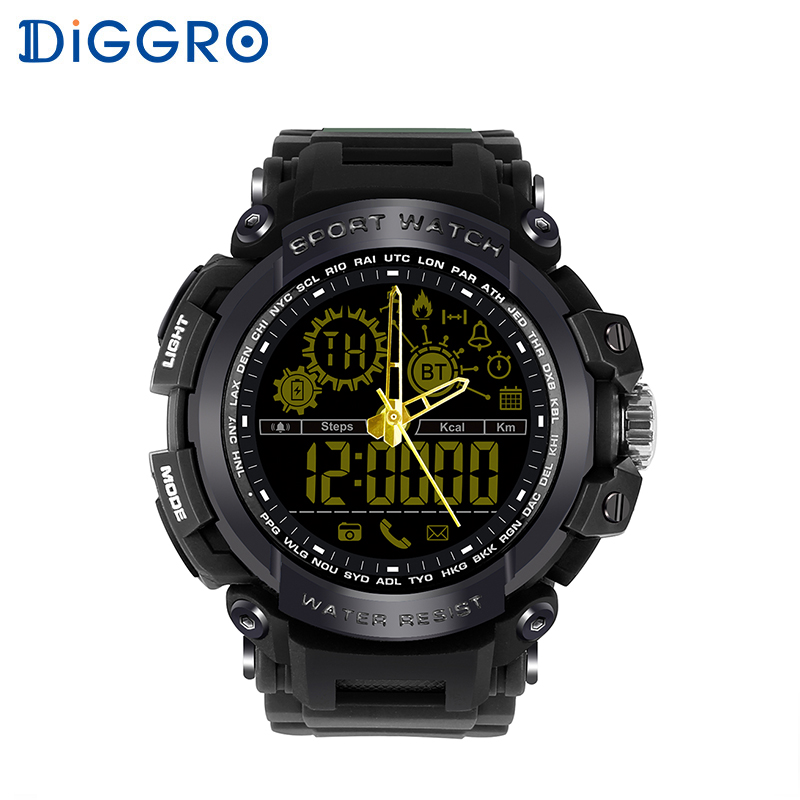 Diggro DI10 Smart Watch Waterproof Outdoor Sport 5ATM Luminous Dial Pedometer Message Reminder Clock Pointerfor Android IOS diggro di10 smart sport watch ip68 waterproof pedomete long standby time bluetooth 4 0 smart 1 21 inch watch for ios android