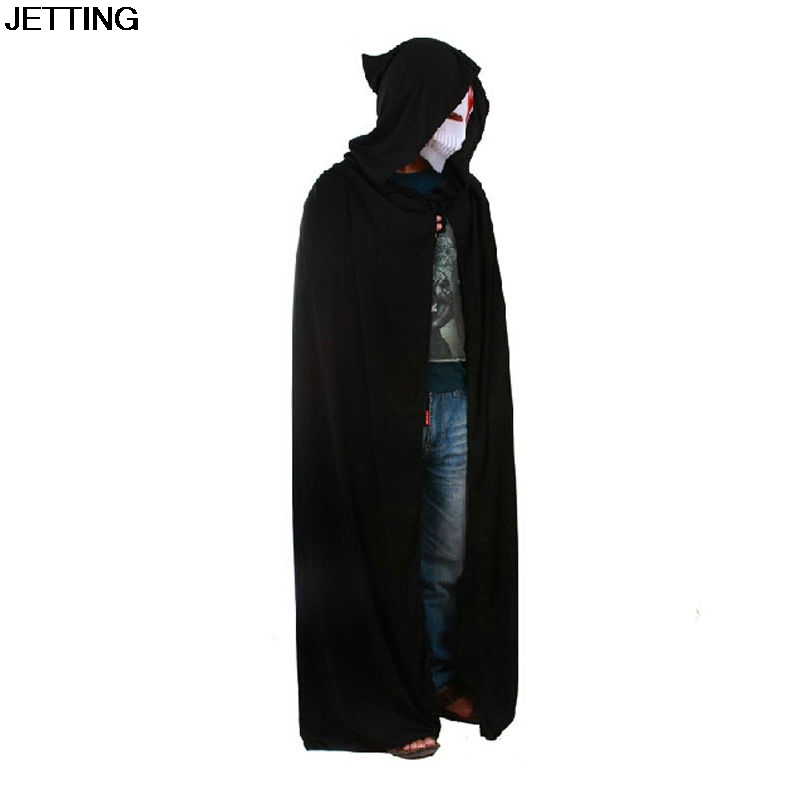 1 pcs Black Cloak Cosplay Costumes Adult Men Hooded Robe Cloak Cape Costume Halloween Christmas Dress