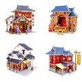 Красочная 3D Деревянные Головоломки Китай Стиль Дом Дерево 3D собранный Мини Дом Модель Комплекты DIY Лобзики для Детей Образовательных игрушки
