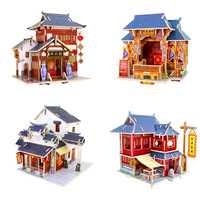 Colorful 3D Wooden Puzzle Of China Style House Wood 3D Assembled Mini House Model Kits DIY