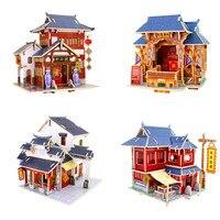 ที่มีสีสัน3Dไม้ปริศนาของจีนสไตล์บ้านไม้3Dประกอบมินิรูปแบบบ้านชุดDIY Jigsawsสำหรับ