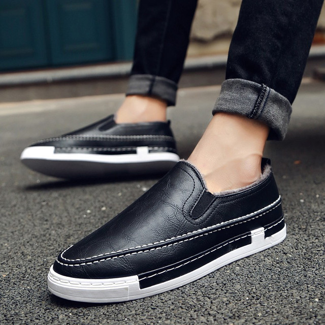 2016 New Suede Men Casual Shoes Winter Plush Warm Shoes Man Korean Slip On Walking Shoes Loafers Fashion Zapatillas Hombre