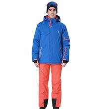 2015 Men Ski Suit Blue Ski Jacket Matched Yellow Orange Red Pants Windproof Waterproof -30 Degree Free Shipping 8024