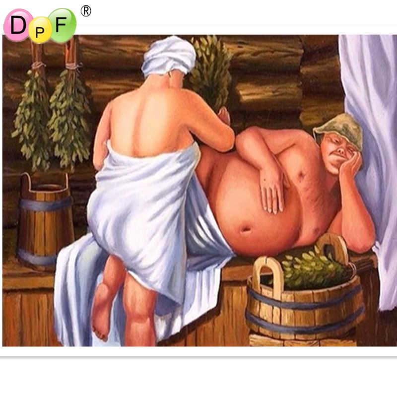 DPF Diy diament haft malarstwo cross stitch ludzkiego ciała kąpieli obraz rhinestone rzemiosło placu diament mozaika obraz