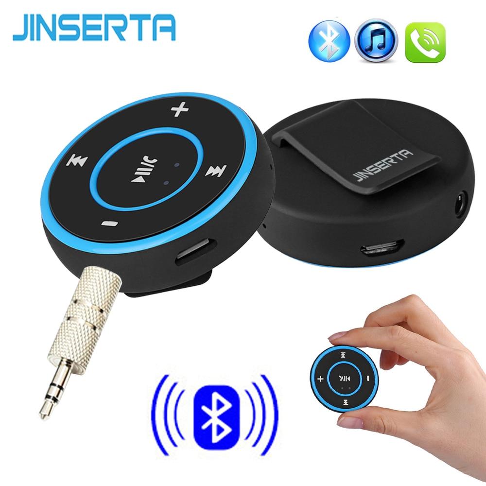 JINSERTA Wireless Bluetooth Audio Receiver Handsfree Car Kit A2DP Music Audio Adapter 3.5mm AUX Jack for Headphone Speaker