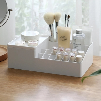 Pallet cosmetic storage box with tray Home skincare brush desktop