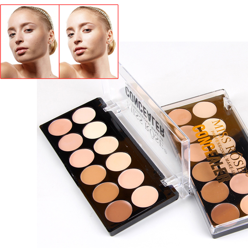 MISS ROSE 12Colors Dark Eye Acne Concealer Cream Palette Professional Base Foundation Makeup Kit Facial Matte Pigment Camouflage image