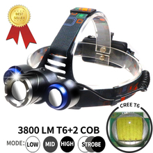 10000 Lumen 18650 Cree 3 XML T6 Led Bike Light Headlamp Adjustable Rechargeable Batttery Camping Charger Lamp 2*COB Headlight