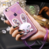 KISSCASE For Apple iPhone 5 SE Case Fashion Clear Bling Crystal 3D Rabbit Cover For iPhone 6 7 Cute Bunny Kick-Stand Soft TPU