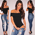 Mujeres Sexy Off Shoulder Camisetas Playsuits Mono Del Mono Del Hombro Sexy Ropa de Verano Ropa de Mujer