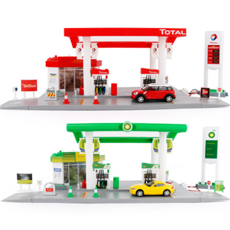 1:64 Metal Model Toy Simulation Gas Station Scene Model Scene Placement Model With Sound Light Good Gift For Children Collection