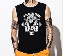 Fashion Man boy  Super Saiyan  Dragon Ball Z  Bodybuilding Japanese Goku sleeveless T-Shirts Top tee vest tank top
