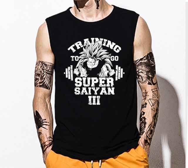 5ddb8dc902d7a Fashion Man boy Super Saiyan Dragon Ball Z Bodybuilding Japanese Goku  sleeveless Top tee vest tank top