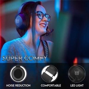 Image 2 - LEORY K19 RGB LED אור USB משחקים שחור אוזניות 2.1m סטריאו הפחתת רעש Wired אוזניות אוזניות עם מיקרופון