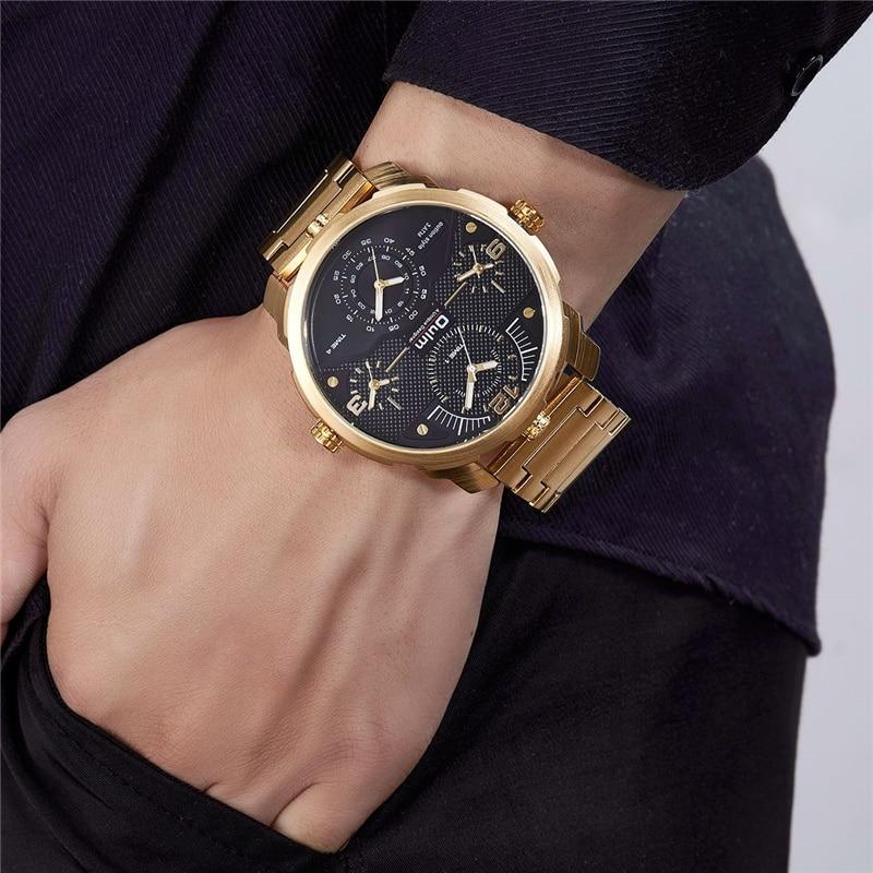 Oulm, новый список, большой размер, четыре часовых пояса, часы для мужчин, роскошный бренд, золотые кварцевые мужские часы, полностью стальные мужские военные часы