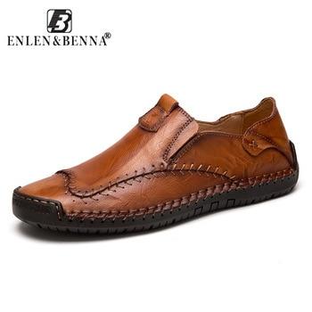 Zapatos de conducción de los hombres de 2018 hombres de cuero genuino mocasines zapatos de moda hecho a mano suave y transpirable mocasines pisos Slipe zapatos 38 -48