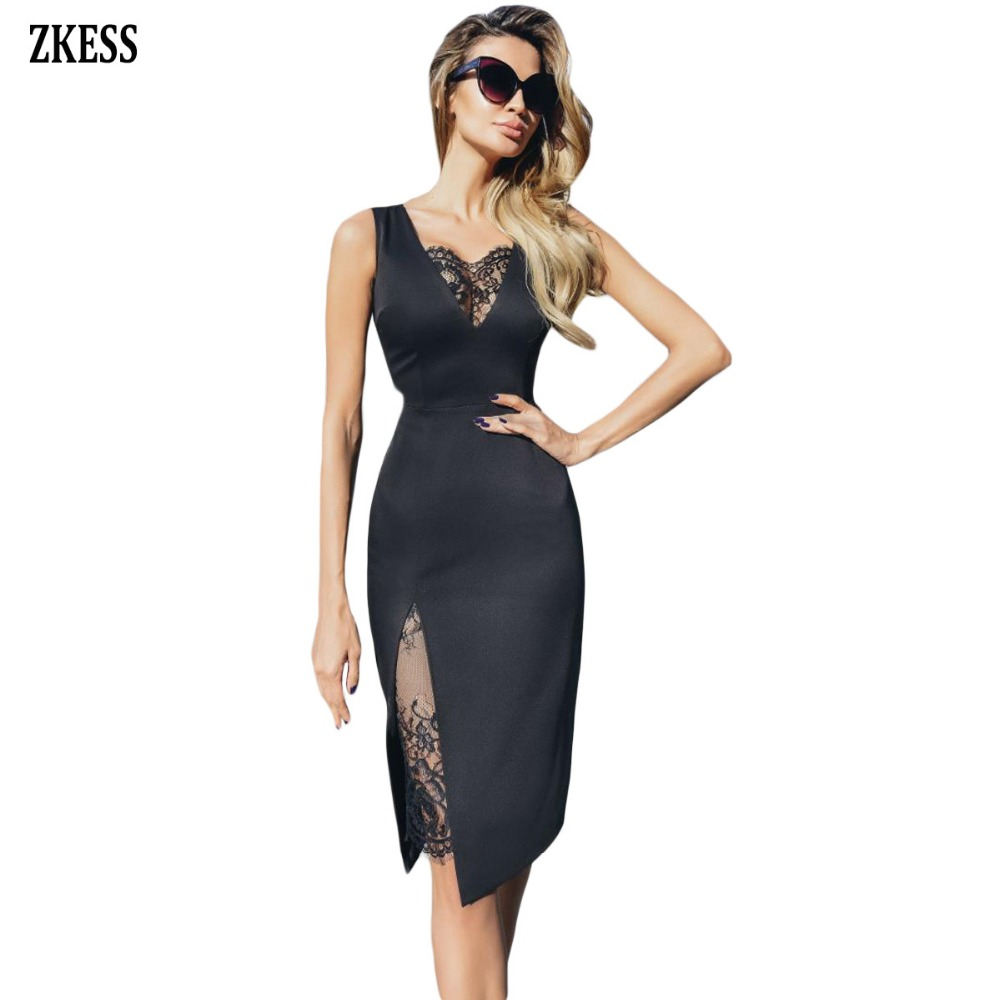 001f6a143286 Zkess Women Black Lace Insert Party Bodycon Dress Sexy V Neck Sleeveless  Thigh Slit Stretched Night
