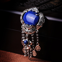 Silk Princess high end Silver 925 silver necklace old Bangkok natural Lapis Pendant style