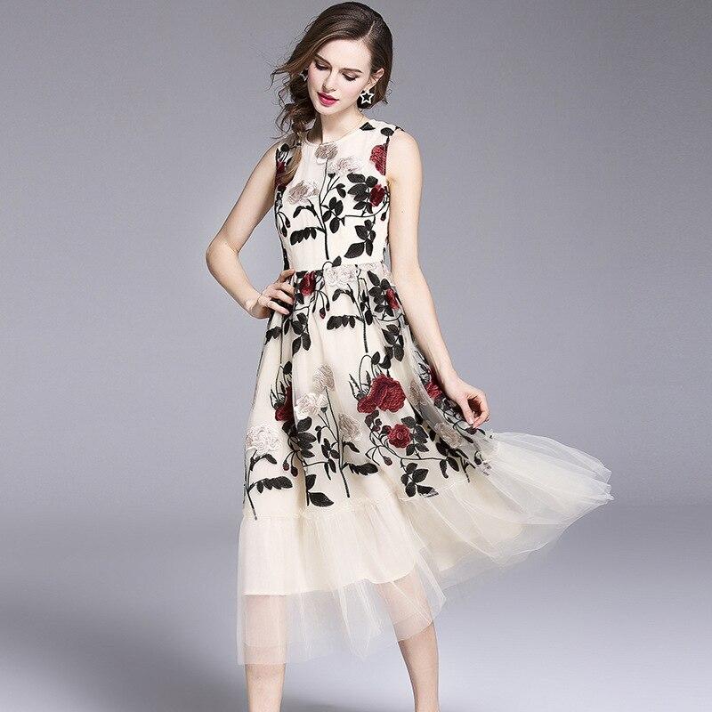 European Mesh Floral O-Neck Sleeveless A-line Summer Tank Dress New Fashion Embroidery Print Women Dresses OL Party Vestidos