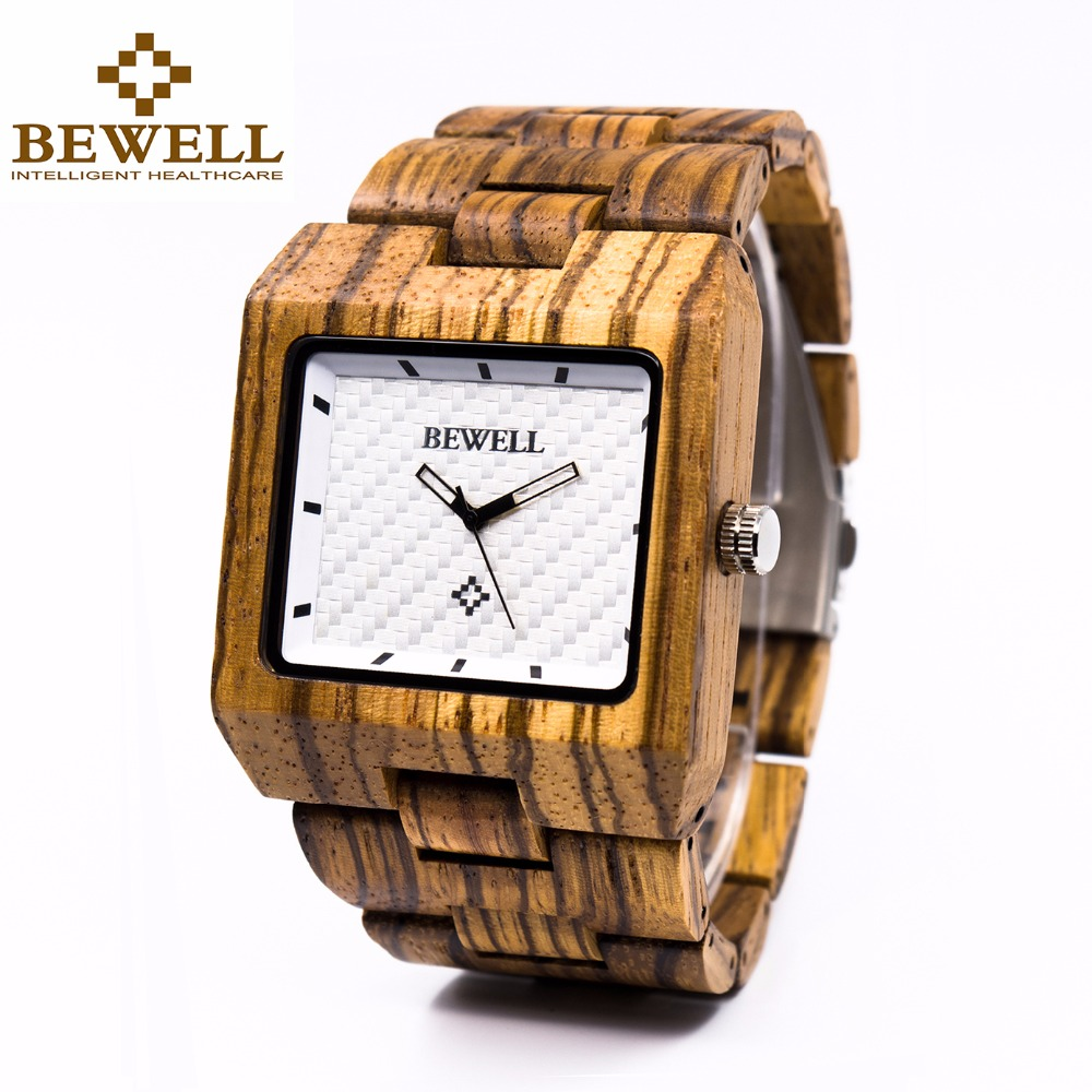 BEWELL Square Dial Mens Wooden Watches Natural Zebra Wood Analog Quartz Wristwatch for Business Men Relogio Masculino 016A