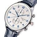 Holuns мужчины кварцевые португальский часы Водонепроницаемые мужские кожаный ремешок группа сапфир люксовый бренд хронограф бизнес Наручные Часы