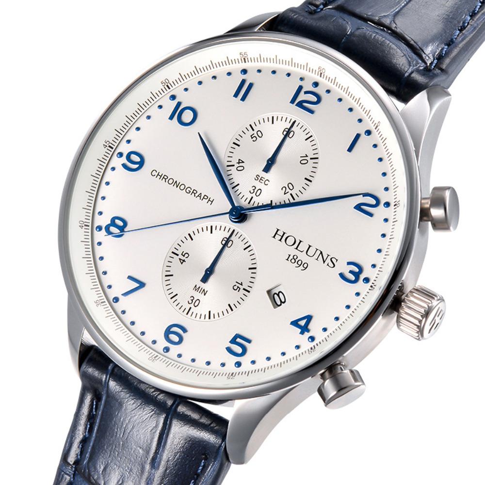 Prix pour Holuns hommes quartz portugais montre Étanche hommes de bracelet en cuir bande saphir marque de luxe chronographe d'affaires Montres