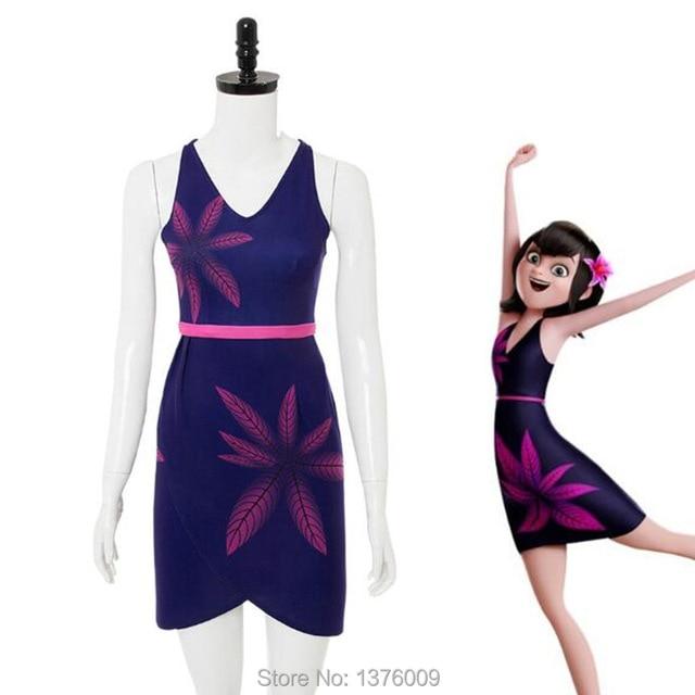 Hotel Transylvania Mavis Cosplay Dress Sexy Deep V Neck Tight Skirt Women  Party Holiday Stage Dress Hawaii Beach Flower Costume cbb6fb5caa