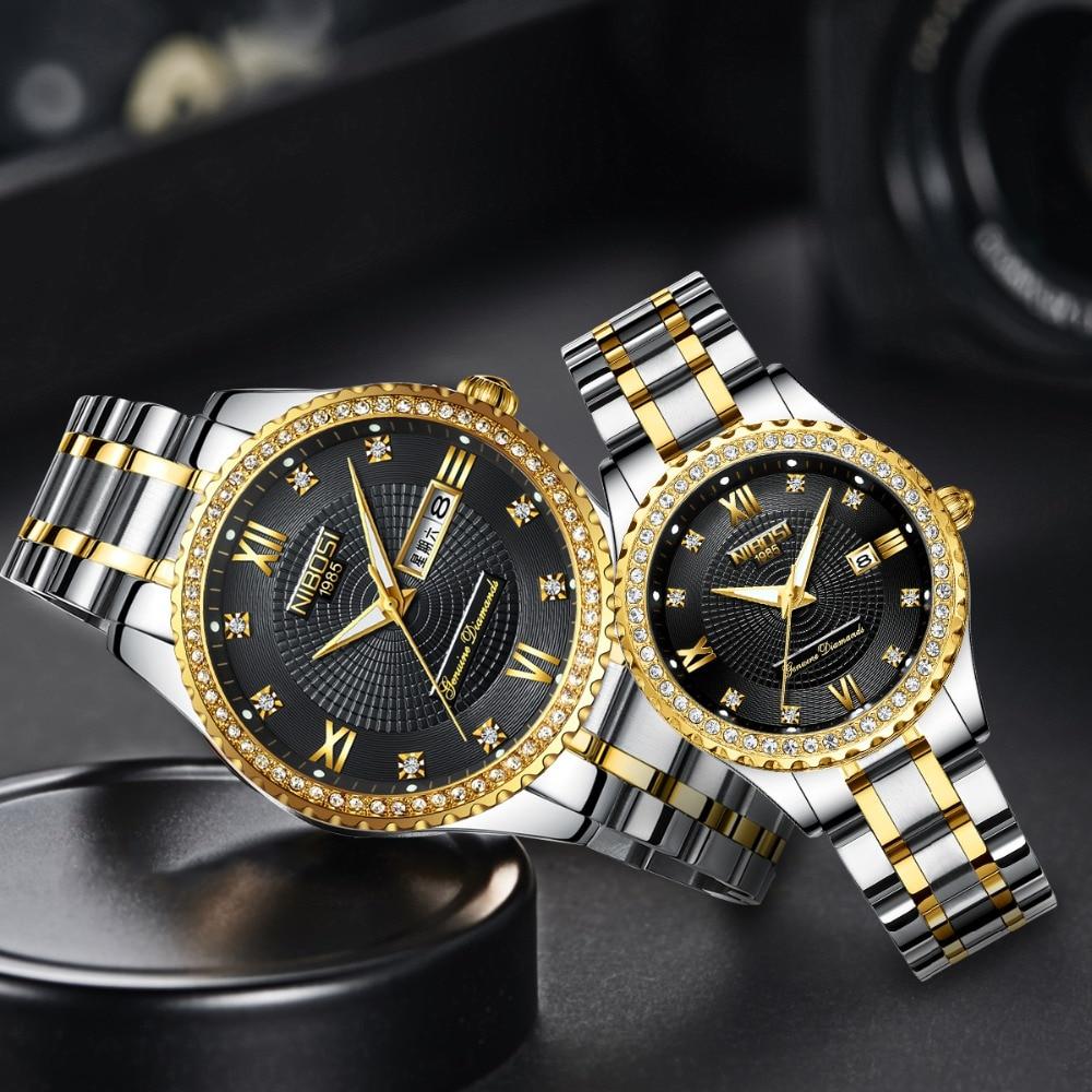 Reloj de pareja NIBOSI para hombre, relojes de marca superior de lujo de cuarzo, reloj para mujer, reloj de pulsera para mujer, reloj de moda Casual para amantes Reloj de cuarzo deportivo de moda para hombre 2020 Relojes, Relojes de lujo para negocios a prueba de agua