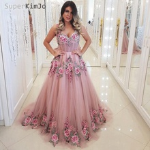 SuperKimJo Embroidery Lace Applique Prom Dresses 2019 A Line V Neck Pink Tulle Elegant Gowns Long Vestido Formatura