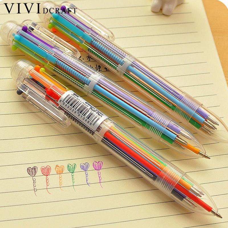 Vividcraft  4pcs/lot 6 in 1 Multicolor Rainbow Ballpoint  Pen Students Office Transparent Ball Point Ballpoint Kawaii Stationery