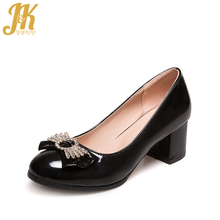 J&K 2017 Big Size 33-43 Brand Women's Shoes Shallow Butterfly Knot Boat Shoes Woman Casual Thick Heeled Pumps Patent Spring Shoe
