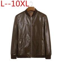 Натуральная кожаная куртка, мужские пальто из натуральной овчины, брендовая Черная Мужская мотоциклетная кожаная куртка, зимнее пальто, большие размеры 10XL 8XL 6XL