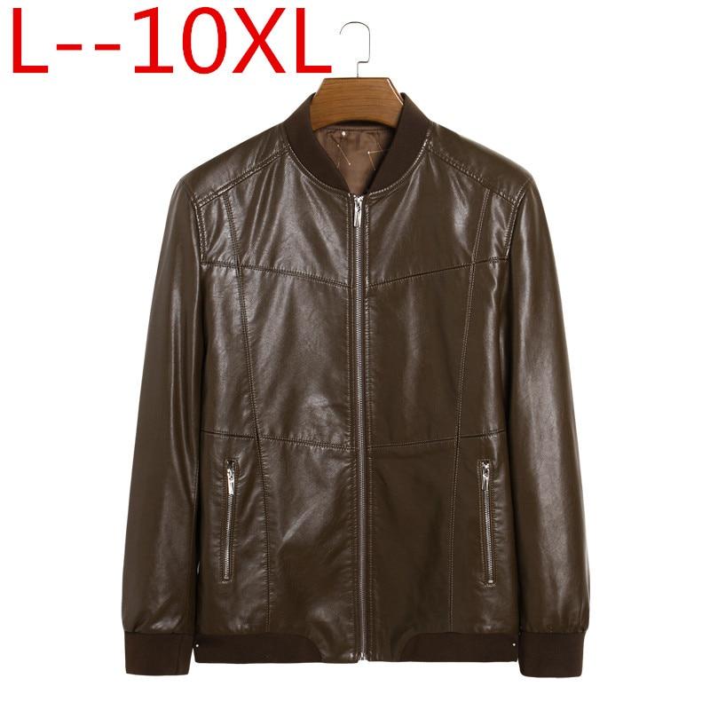 ของแท้หนังเสื้อแจ็คเก็ตผู้ชายของแท้ Sheepskin ยี่ห้อชายสีดำรถจักรยานยนต์หนัง Jacket เสื้อฤดูหนาว Plus ขนาด 10XL 8XL 6XL-ใน เสื้อโค้ทหนังสังเคราะห์ จาก เสื้อผ้าผู้ชาย บน   1