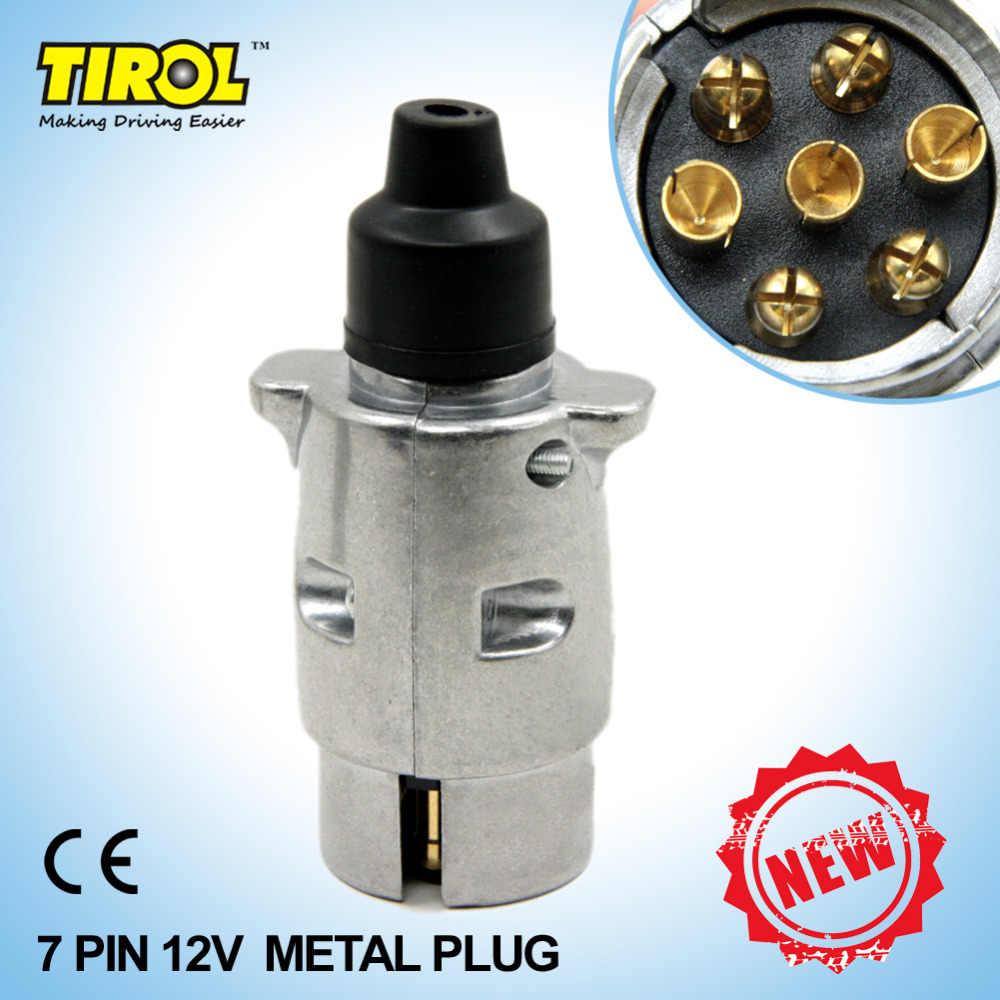 tirol 7 pin new trailer plug 7 pole round pin trailer wiring connector 12v [ 1000 x 1000 Pixel ]