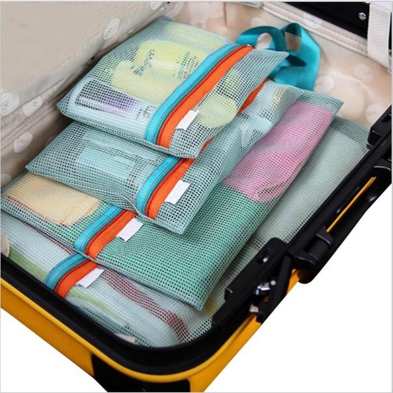 4Pcs Set Portable Travel Grid Storage Four Sets Organizer Pouch Thick Mesh Laundry Wash Cosmetic Finishing