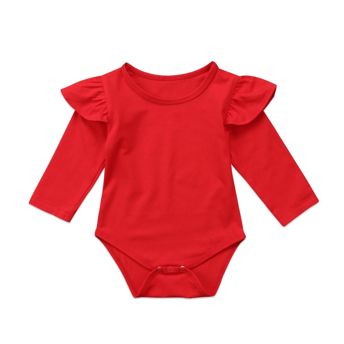 One Piece Newborn Kid Baby Girls 2017 New Christmas Ruffle Long Sleeve Solid Red