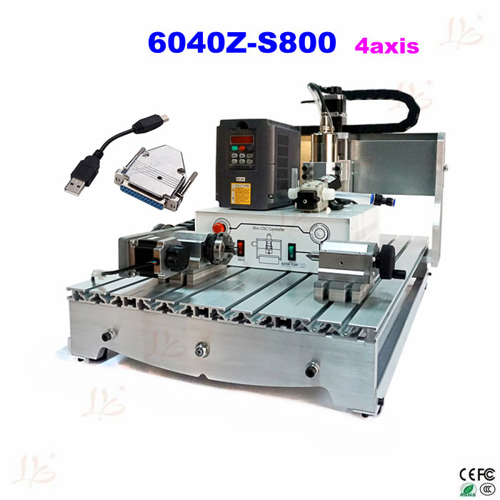 CNC 6040Z-S800 USB 4 axis cnc router 800w woodworking machinery, no tax to Russia country no tax to eu 6040 z d300 4axis 110v 220v cnc milling machine cnc router usb adpter