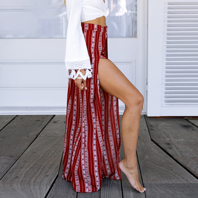 Melegant Bohemian Striped Women   Wide     Leg     Pants   Casual High Waist Beach Boho Female Trousers 2019 Summer Sexy Split Long   Pants
