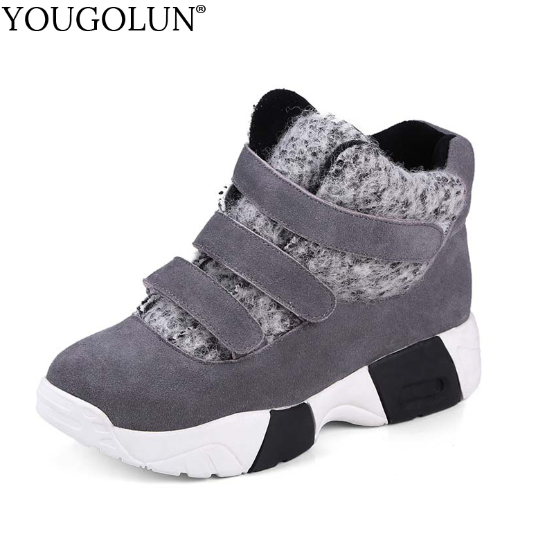 YOUGOLUN Women Snow Boots Winter Genuine Cow Suede Nubuck Leather Platform Ankle Boots Black Gray Round toe Warm Shoes #Y-276 superstar cow suede tassel leather boots platform zipper med heels rivets snow boots round toe mid calf boots for women l2f7