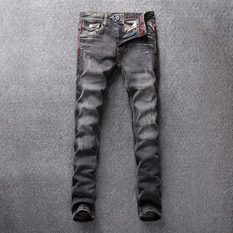 Italian Vintage Style Fashion Men Jeans Black Gray Color Retro Classical Jeans Basic Denim Pants Slim Fit Ripped Jeans For Men
