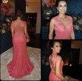 Sereia 2017 Vestidos de Noite De Coral Tampado Mangas Lace Appliqued Longo Mulheres Vestidos vestidos de festa longo