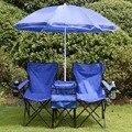 Cadeira de Piquenique portátil Dobrável Duplo W/Umbrella Cooler Tabela Cadeira de Praia Camping OP2647