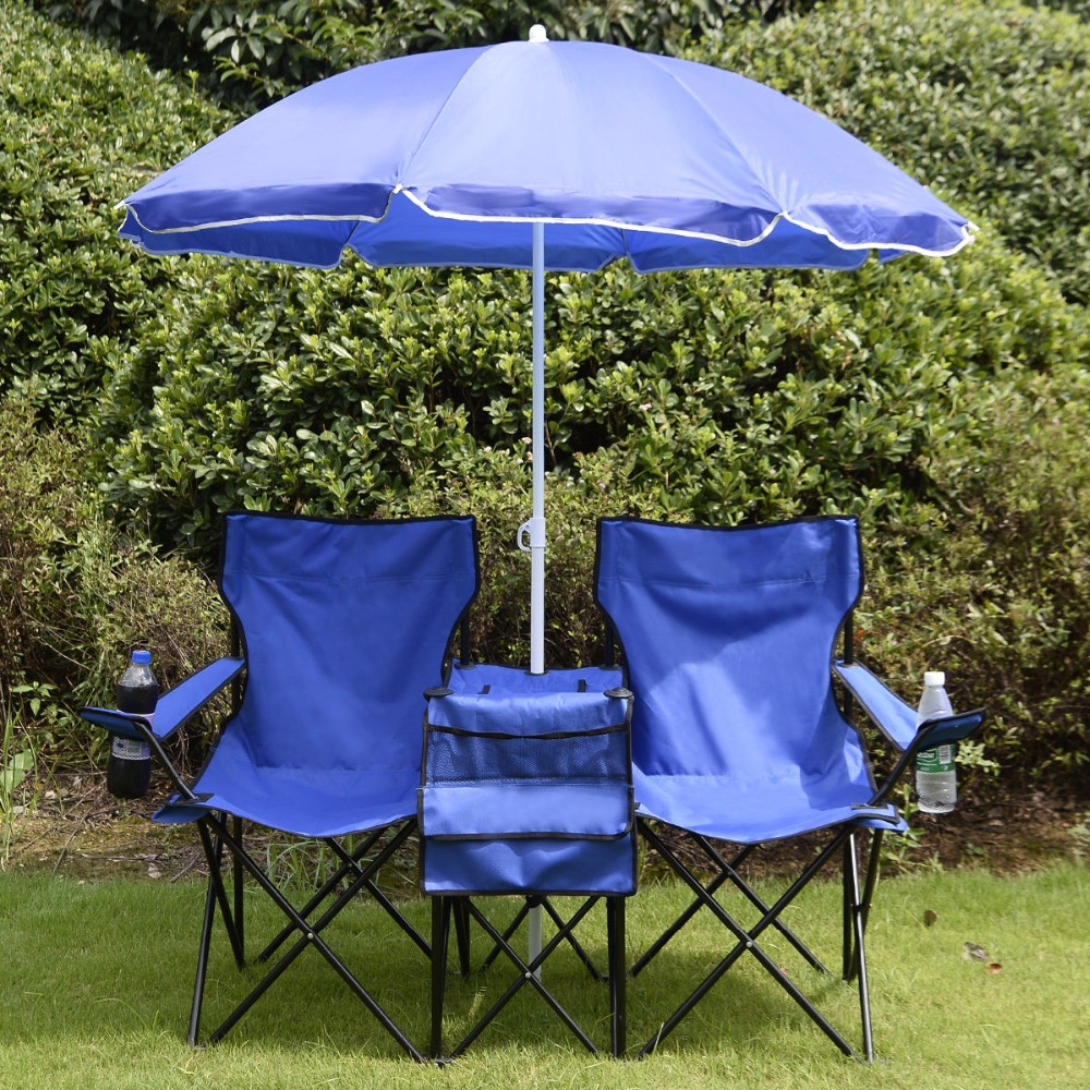 Double Camping Chair Us 50 65 Portable Folding Picnic Set Double Chair Umbrella Table Blue Outdoor Furniture Cooler Beach Camping Chair Bbq Seat Op2647 In Beach Chairs