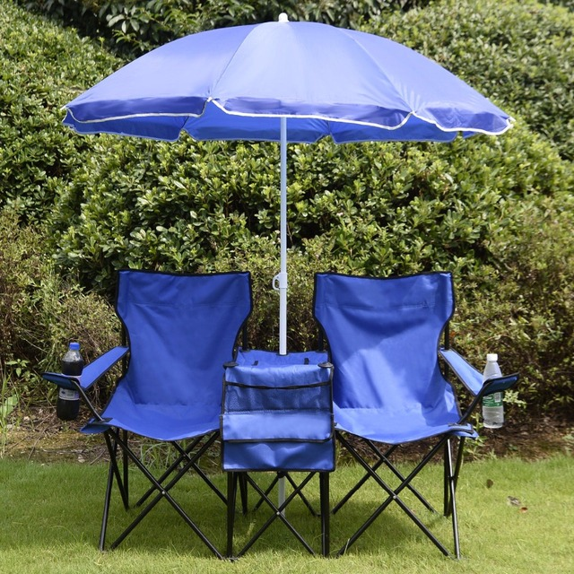 Portable Folding Picnic Set Double Chair Umbrella Table Blue Outdoor Furniture Cooler Beach Camping